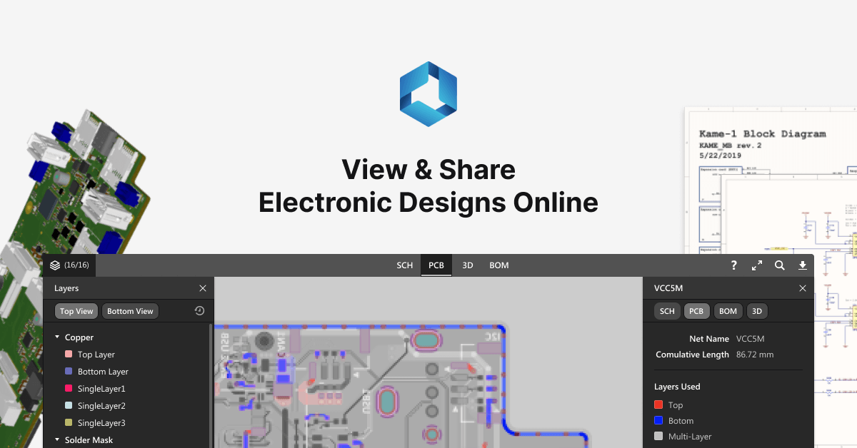 PCB design sharing and visualization through the cloud supports both Altium and Autodesk Eagle files