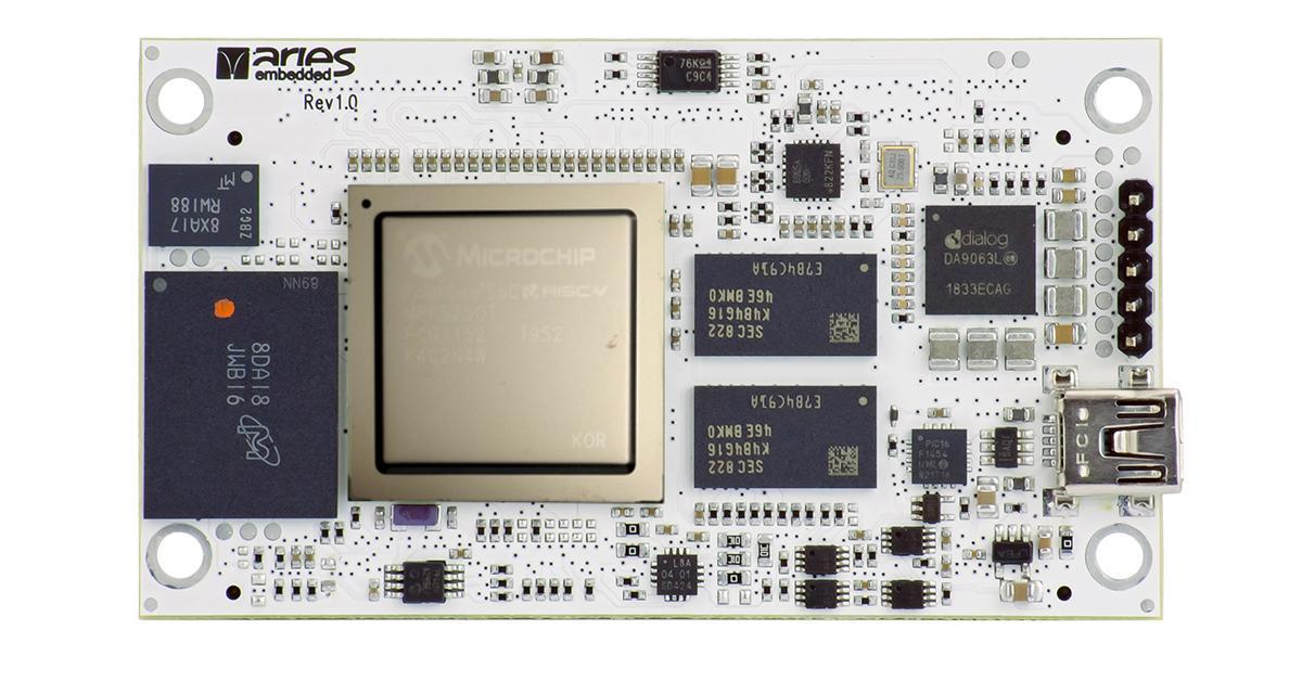 SoM based on Microchip's low-power PolarFire RISC-V SoC FPGA