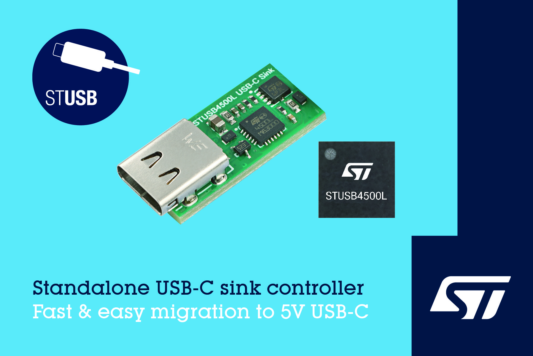 STMicroelectronics Introduces Standalone VBUS-Powered Controller for 5V USB-C Charging Applications