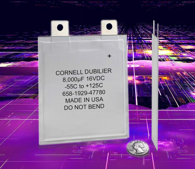 1mm-Thin Polymer Aluminum Electrolytics Provides High Ripple Current and Capacitance