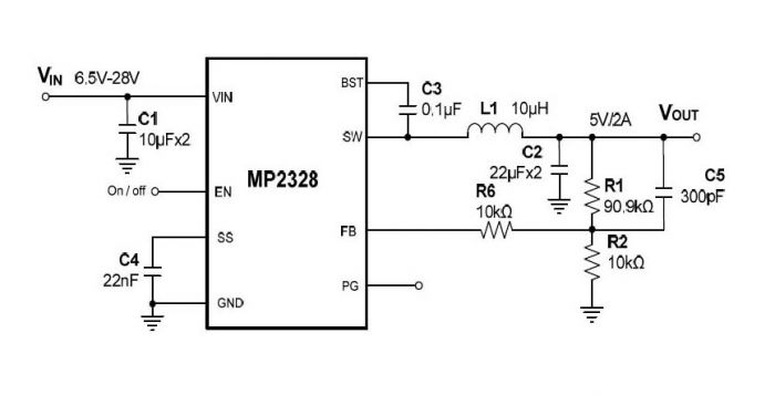 High-Efficiency, 28V, 2A, 430kHz, Synchronous Step-Down DC-DC in SOT583