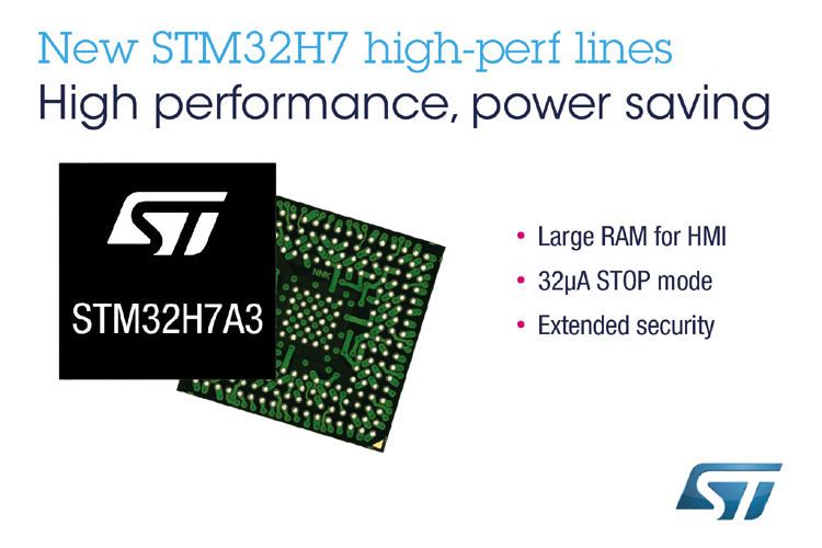 STMicroelectronics STM32H7A3/7B3 lines of microcontrollers include an Arm® Cortex®-M7 core