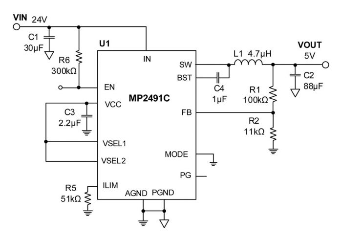 MP2491C Step-Down Converter has programmable current limit