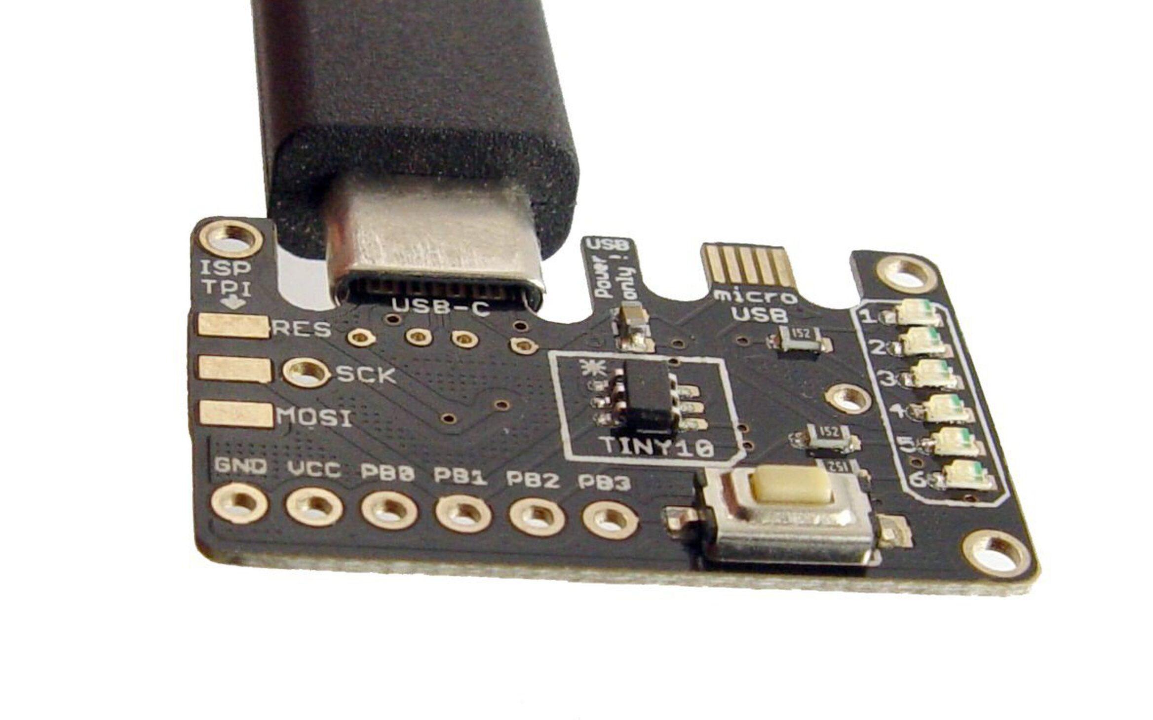 ATtiny10 Development Board with USB-C and Micro USB