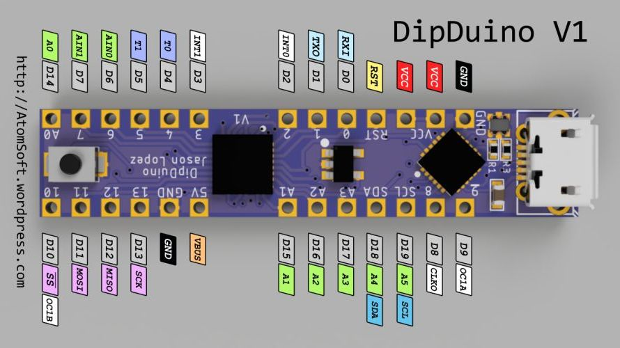 DipDuino –  is an Arduino in 0.3in DIP form