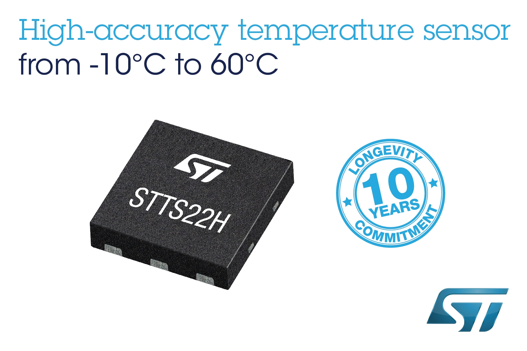 STTS22H – Low-voltage, ultra-low-power, 0.5 °C accuracy I2C/SMBus 3.0 temperature sensor