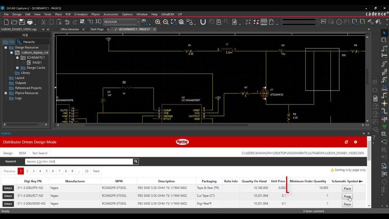 Effortlessly Create BOMs and Order Parts As You Design with UltraBOM for OrCAD