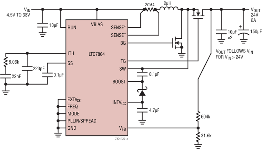 LTC7804 40 V 3 MHz Boost Controller with Spectrum Frequency