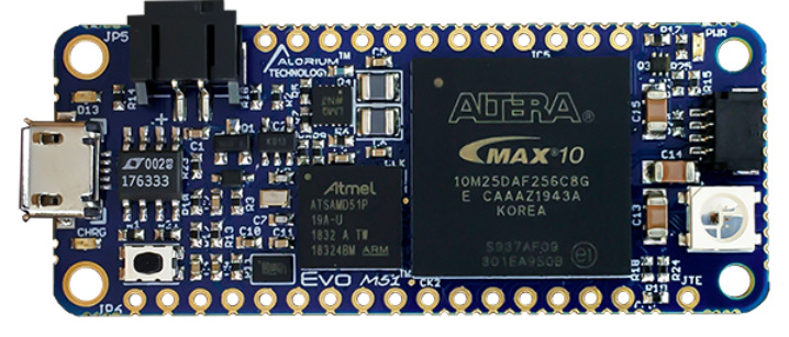 Evo M51 Compute module Features Atmel SAMD51 MCU with Intel MAX 10 FPGA