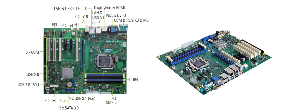 ATX Industrial Motherboard with Server-class Intel® Xeon® E processor and ECC Memory for Smart Factory – IMB525R