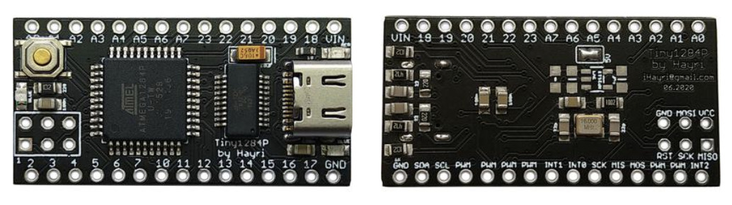 Tiny1284P is Based on ATmega1284P microcontroller and Uses USB Type-C for Power and Programming