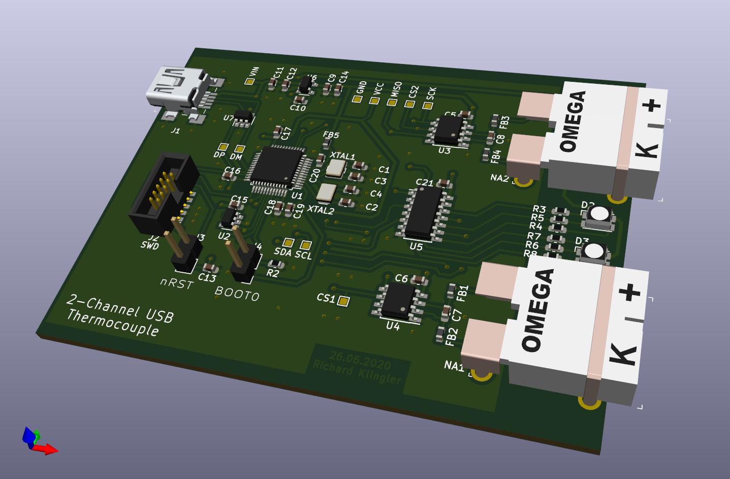 2-channel USB thermocouple sensor using STM32