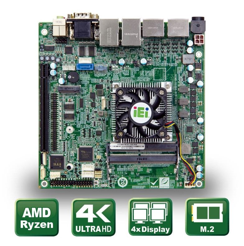 Industrial Mini ITX motherboard with AMD® Ryzen Embedded CPU
