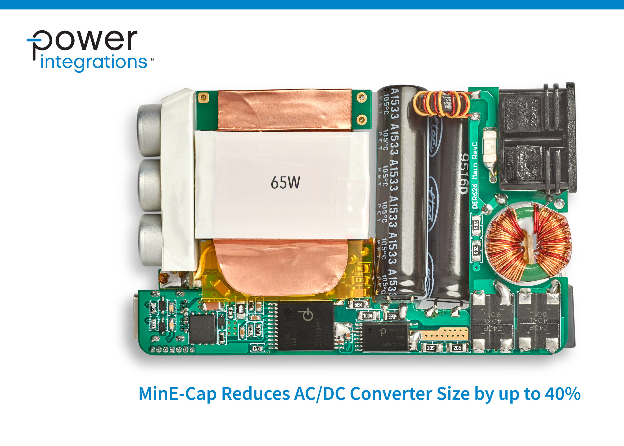 Power Integrations' New MinE-CAP IC Reduces Volume of AC-DC Converters by Up to 40%