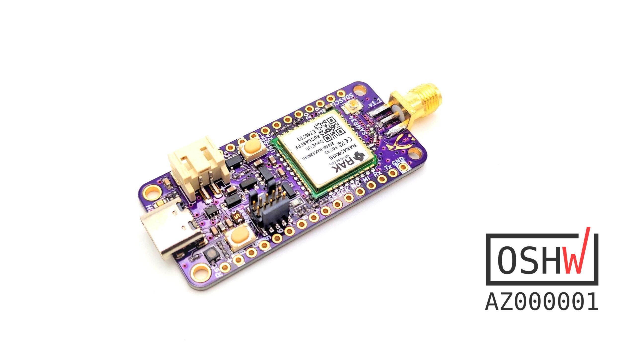 Penguino Feather 4260 SAMR34 based LoRa Dev-Board Features RAK4260 module
