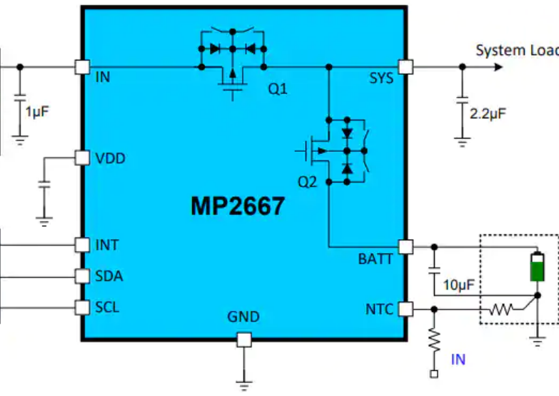 Monolithic Power Systems' 5 V USB, 1 A, I²C-controlled linear charger