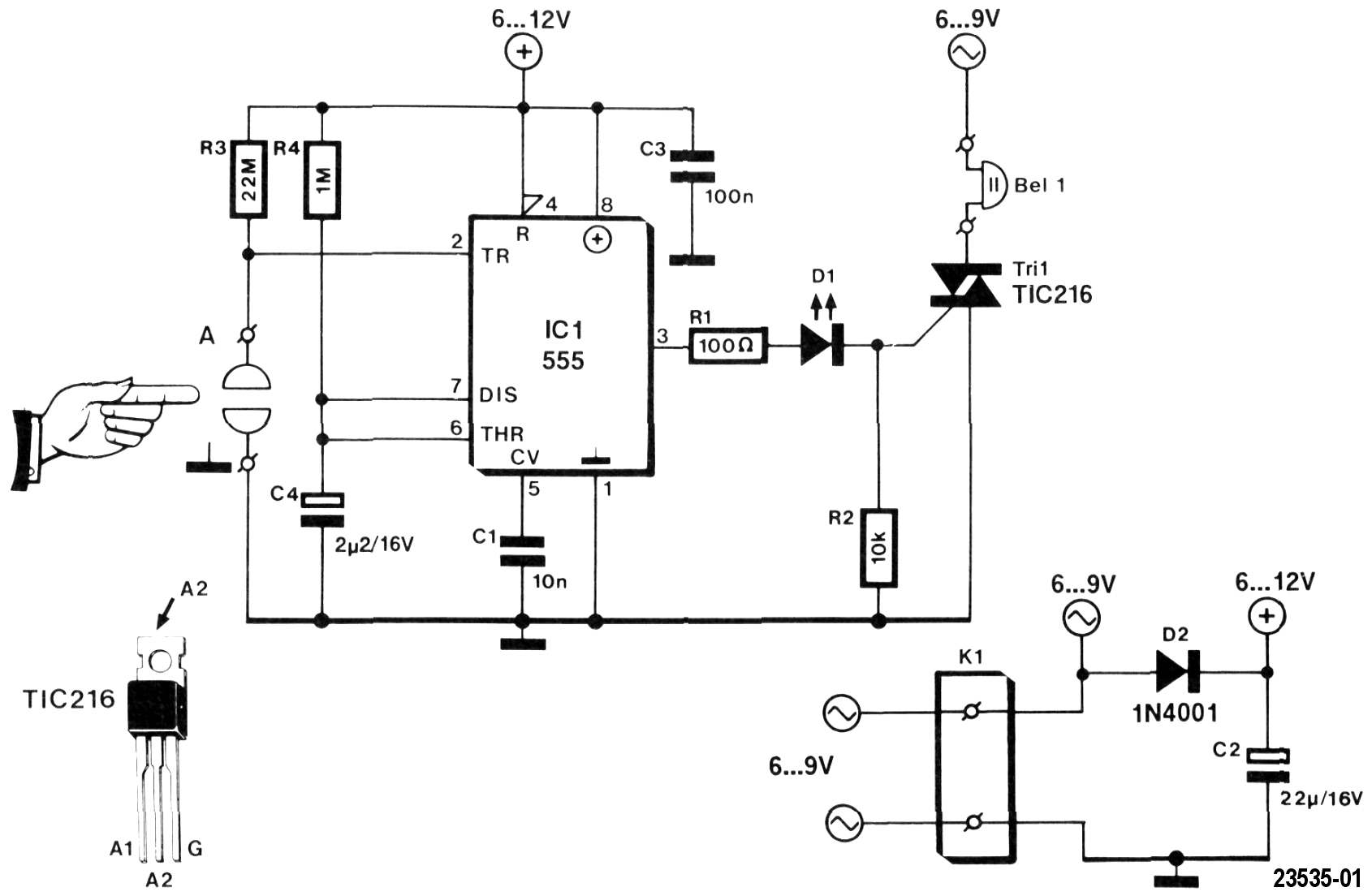 Elektor Circuit: Touch Doorbell with 555