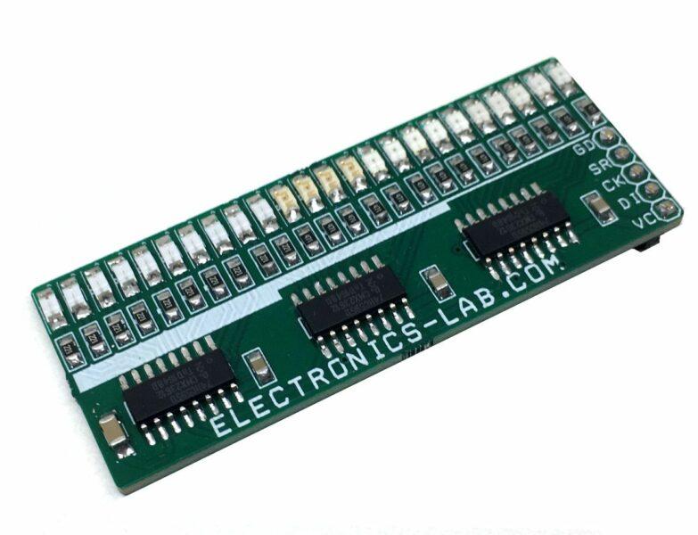 24 LEDs Bargraph Display using 74HC595 Shift Register