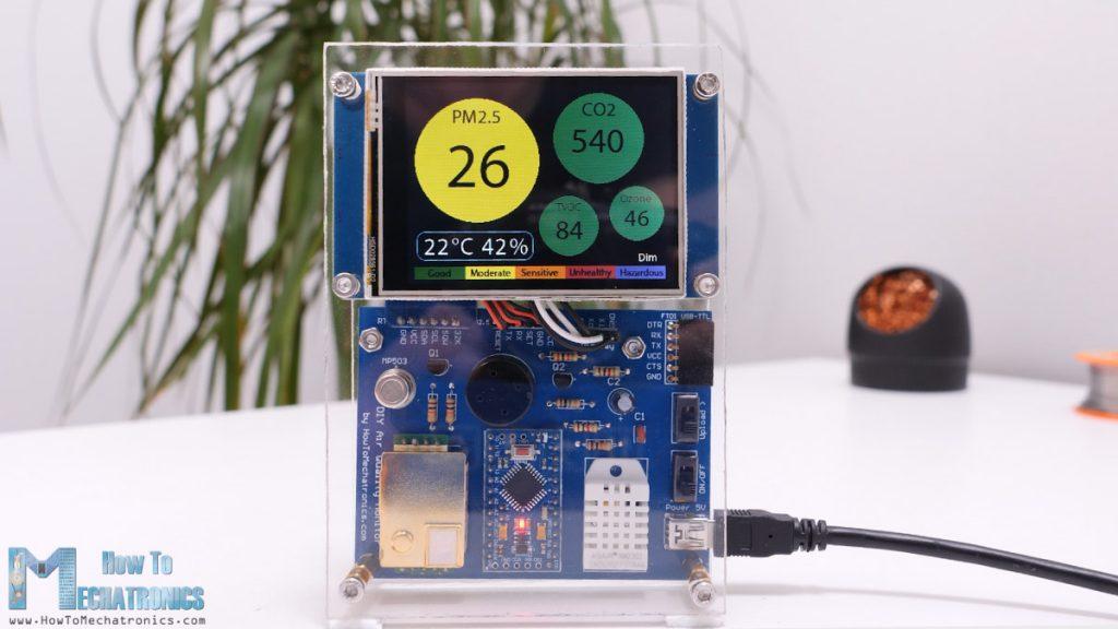 DIY Air Quality Monitor measures PM2.5, CO2, VOC, Ozone, Temp & Humidity