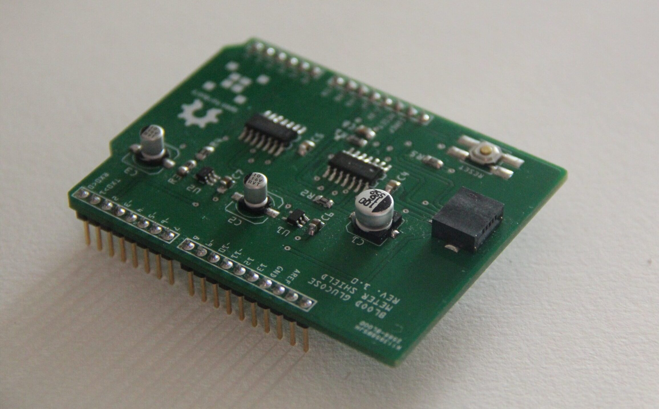 Open source Arduino blood glucose meter shield uses electrochemical test strips