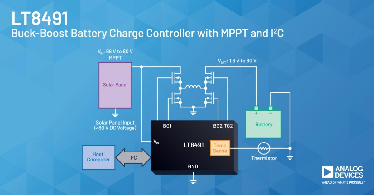 80V Buck-Boost charging controller with MPPT for solar panels