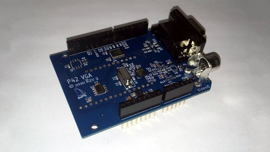 Pier 42 Arduino video display shield with 4x composite video outputs and integrated framebuffers