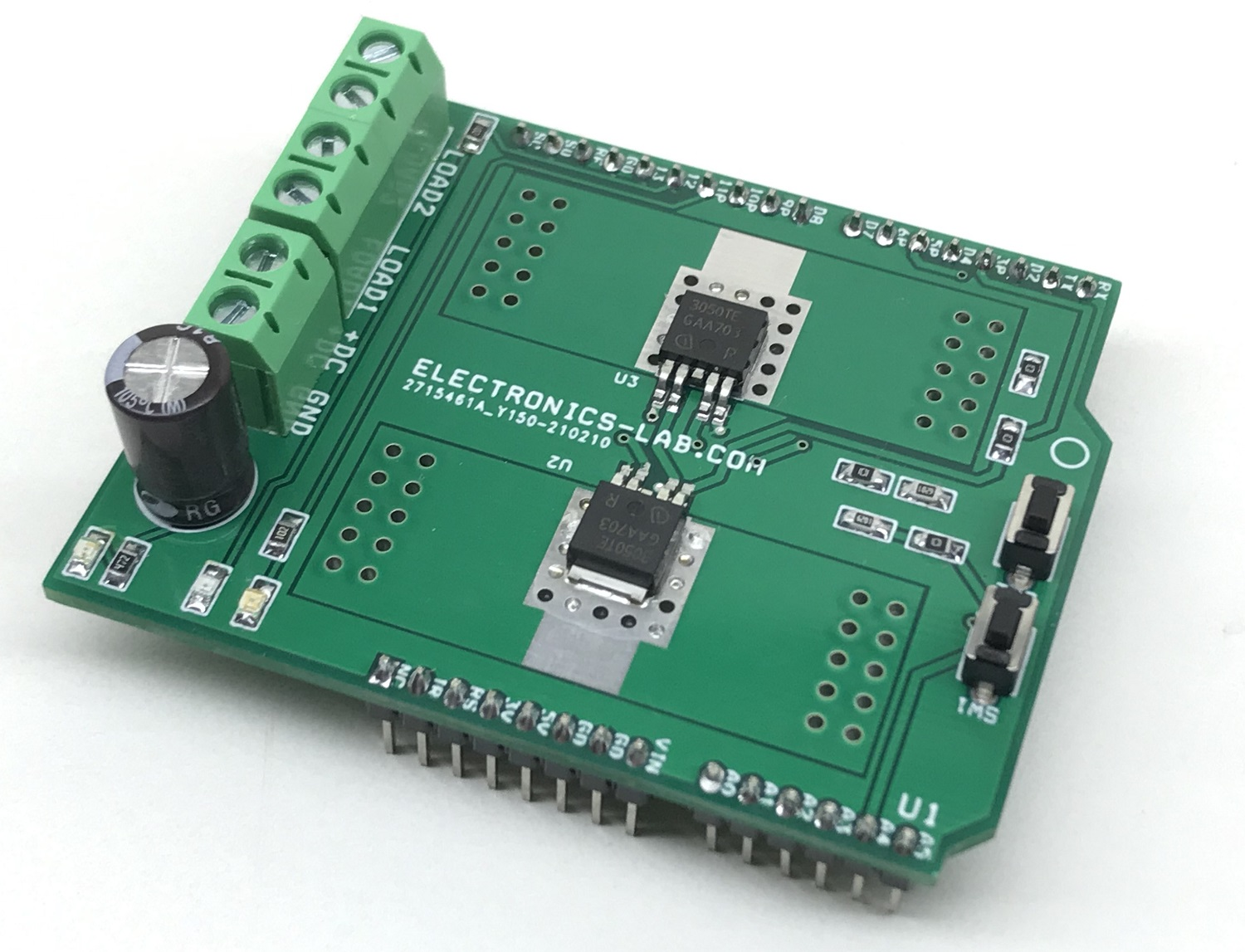 Two Channel Smart Low-Side Power Switch for Inductive, Resistive and Capacitive Loads – Arduino Shield