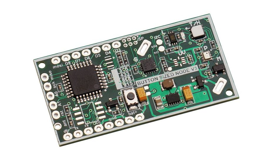 $19 Button Size Node 3 is an Arduino Pro-mini board with on-board LoRa