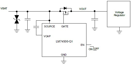 LM74500-Q1 Reverse Polarity Protection Controller