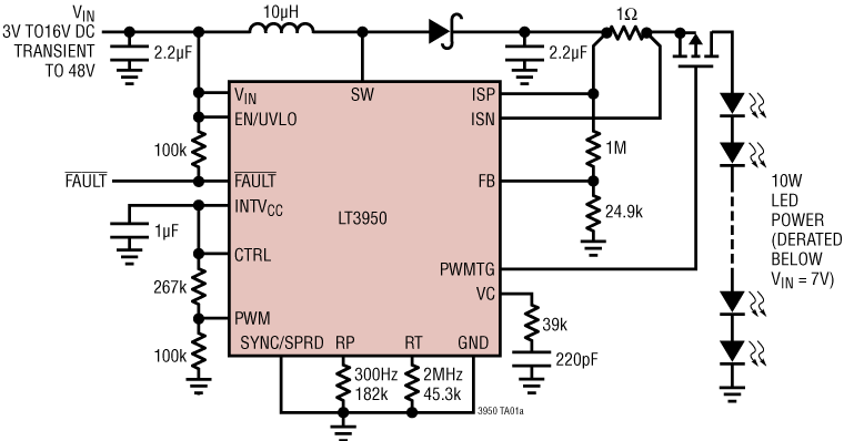 Analog Devices' LT3950 1.5 A multi-topology LED driver offers 20,000:1 range dimming of the LED