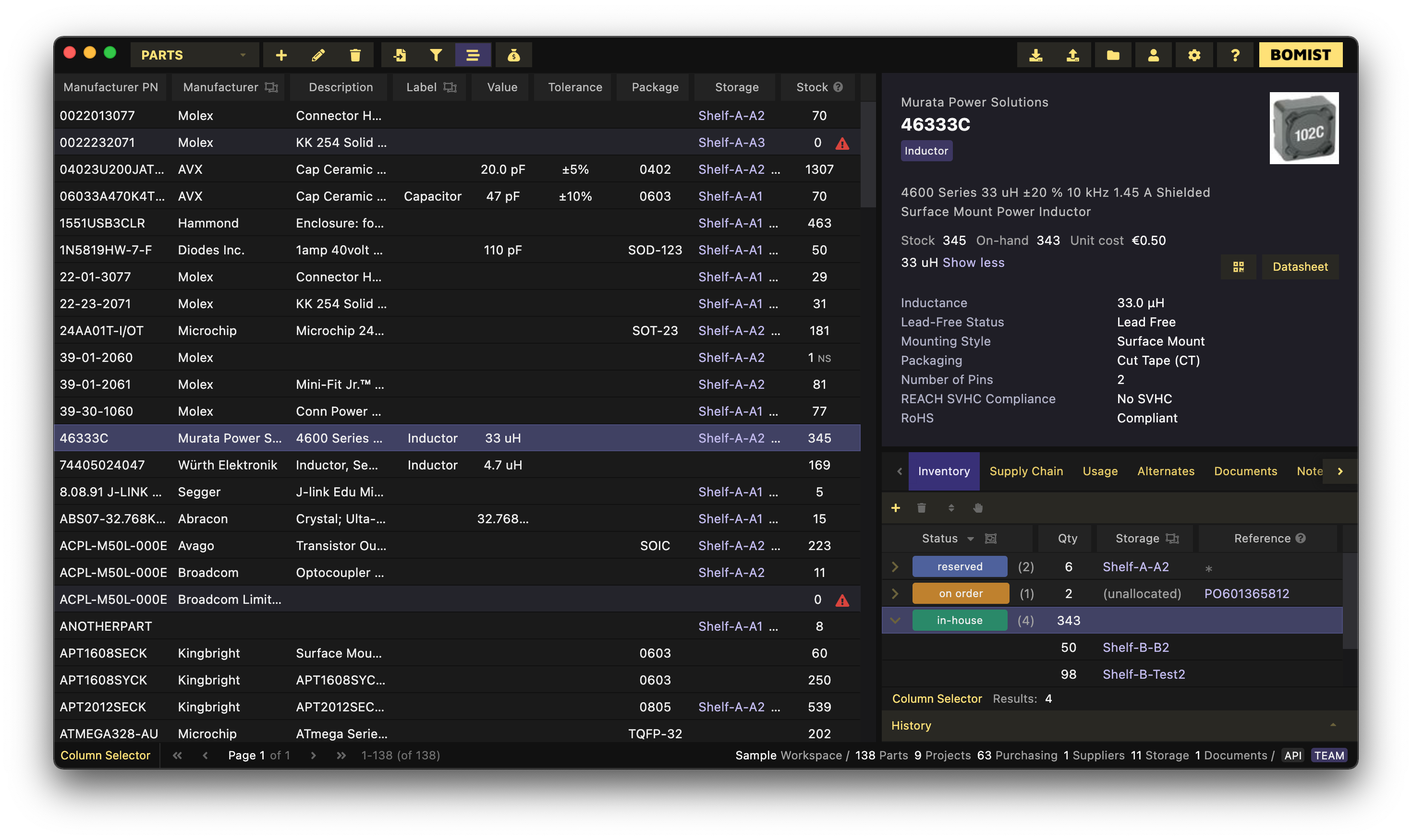 BOMIST – Parts Inventory and BOM Management Software