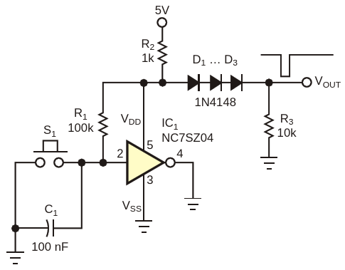 Switch debounce circuit uses only one gate