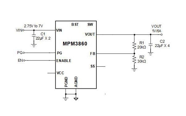 MPM3860 Step-Down Power Module can achieve 6 A of continuous output