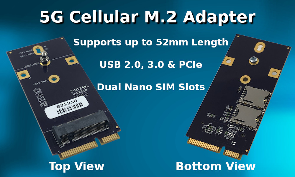 5G Cellular Modem M.2 Adapter for Mini-PCIe Slots on SBCs