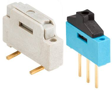 Mini Slide Switches feature 2.54 mm pitches