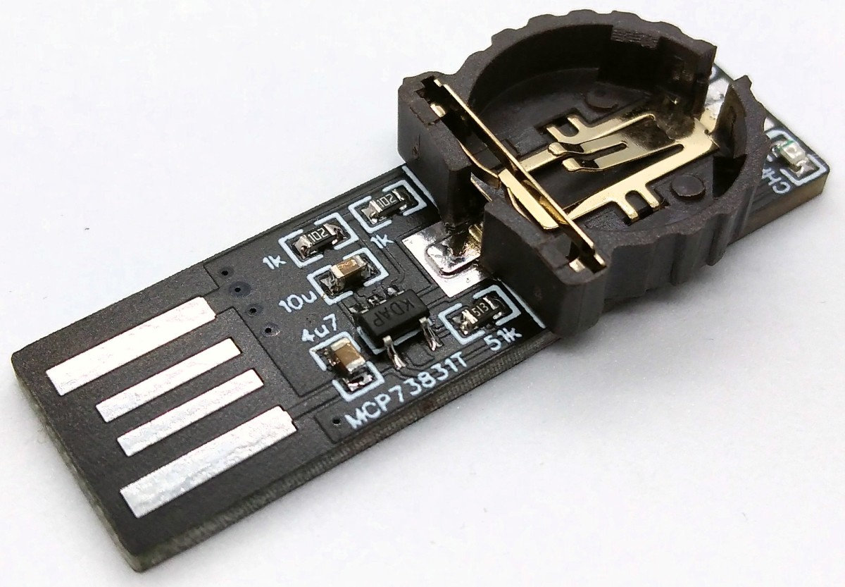 LIR1220 Battery Charger plugs in USB