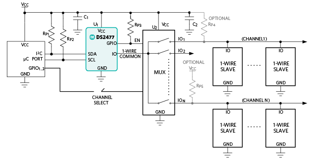 How to multiplex a 1-Wire master into numerous channels