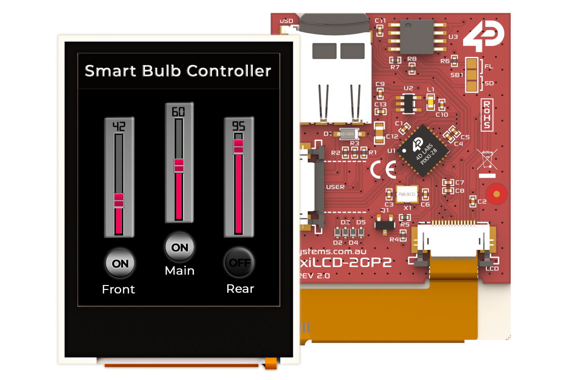 pixxiLCD-20P2 is a 2.0″, 176×220 pixel, slim Intelligent Display Module with embedded PIXXI-28 processor