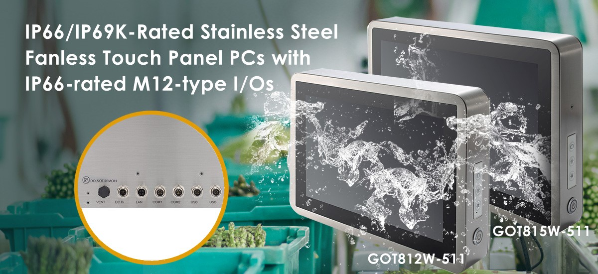 IP66/IP69K-Rated Stainless Steel Fanless Touch Panel PCs for Food Processing Industry