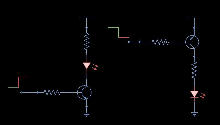 LEDs driven through transistors