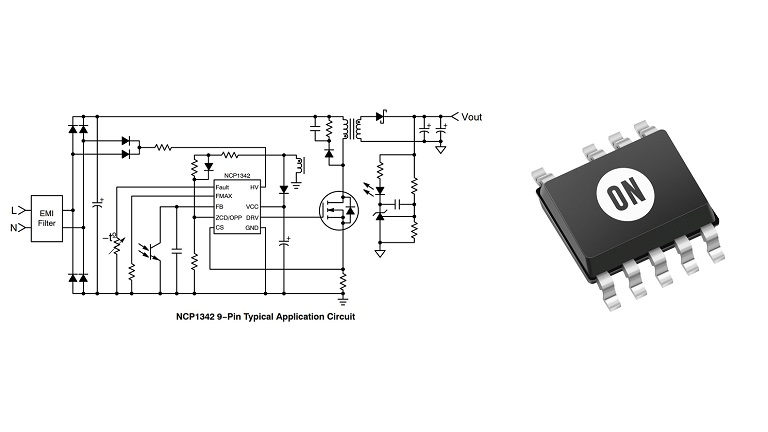 ON Semiconductor NCP1342 is a highly integrated quasi-resonant flyback controller
