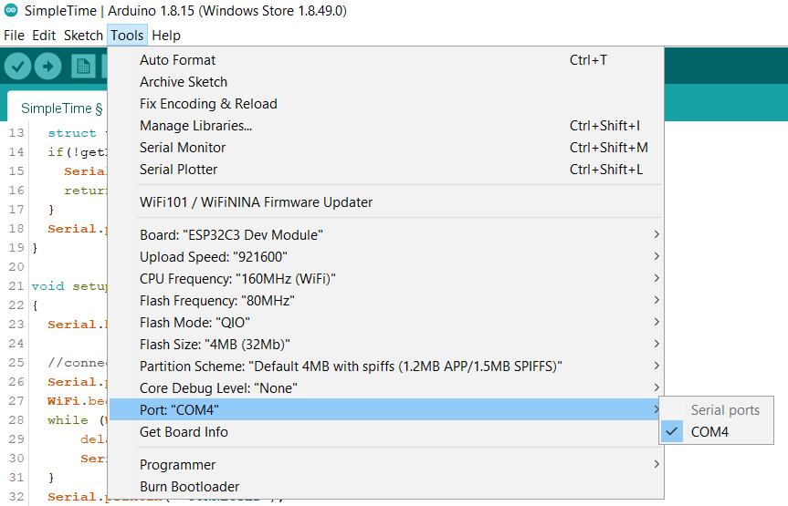 Port COM4 for ESP32-C3-DevKITM-1