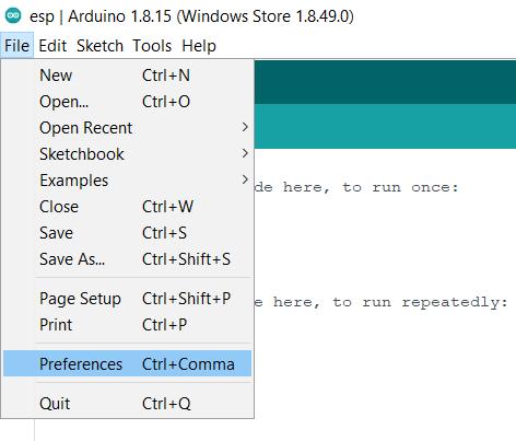 Preferences Menu on Arduino IDE