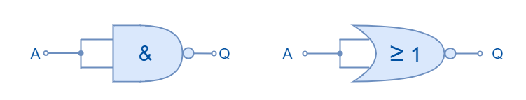 NAND and NOR equivalents of NOT