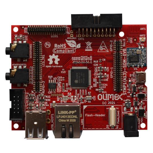 Olimex STMP15X-SOM and STMP1(A13)-EVB Eval Board Based on STM32MP1 SoC