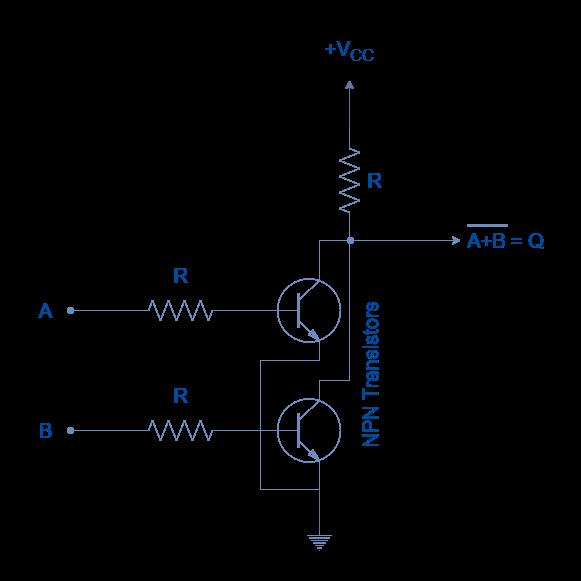 NOR gate constructed using Resistor Transistor Logic