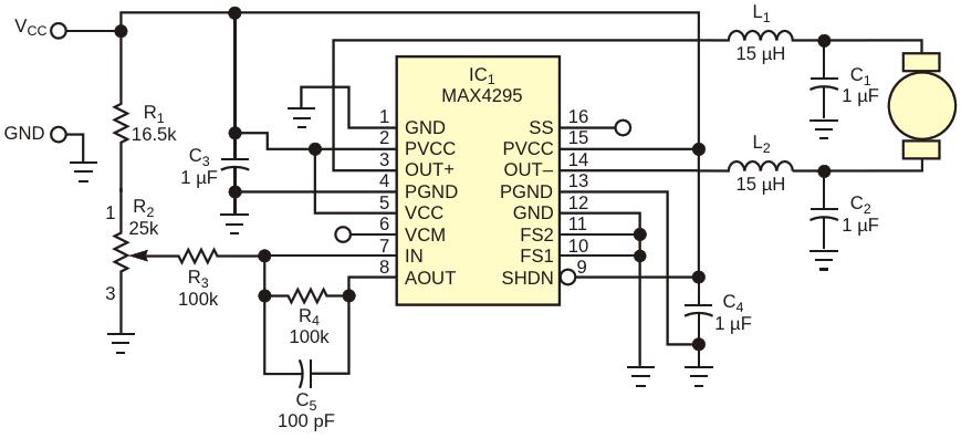 Maxim's MAX4295 Circuit provides Class D motor control
