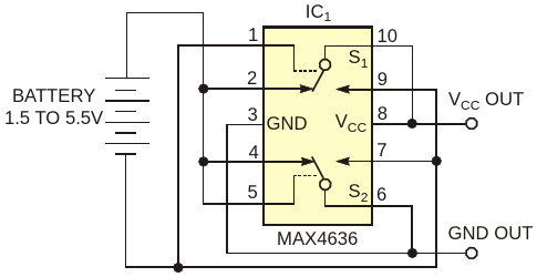 Circuit provides reverse-battery connection protection