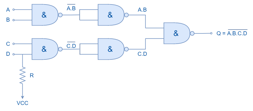 Cascaded NAND logic with odd number of inputs