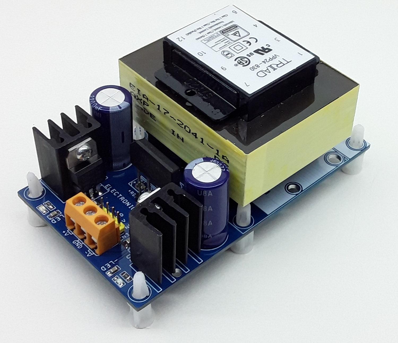 Dual +12V/-12V @ 400mA Regulated Linear Power Supply with AC input